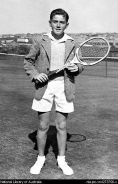 tennis player Ken Rosewall, as a 12 year old at White City, Sydney, 1946