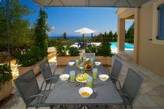 "Open out shaded veranda for ""al fresco""dining, offering stunning sea views. Cypress Trees, Beautiful Villas, Al Fresco Dining, Patio, Sea, Outdoor Decor, Home Decor, Decoration Home, Room Decor"