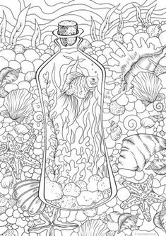Underwater - Printable Adult Coloring Page from Favoreads (Coloring book pages for adults and kids, Coloring sheets, Colouring designs) - Drawing idea Coloring Pages For Grown Ups, Detailed Coloring Pages, Spring Coloring Pages, Printable Coloring Sheets, Printable Adult Coloring Pages, Cool Coloring Pages, Flower Coloring Pages, Disney Coloring Pages, Animal Coloring Pages