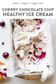 This paleo chocolate chip ice cream with roasted cherries is easy, rich, a bit tart, and totally delicious. With a vegan chocolate chip ice cream base, inspired by Italian stracciatella, it layers heady, roasted cherries, producing the perfect creamy, tart, chocolatey combination. Such a fantastic paleo ice cream recipe (or vegan ice cream recipe, if you prefer!). You absolutely must try this paleo chocolate chip ice cream with roasted cherries while the fruit is still in season. #vegan #paleo