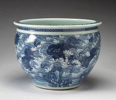 Blue & White - Massive Porcelain Jardinière, c. Blue And White China, Love Blue, Blue Pigment, Types Of Patterns, White Things, White Houses, White Porcelain, Ceramic Pottery, Color Mixing