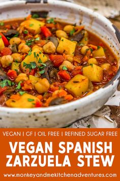 Vegan Spanish Zarzuela Stew – Monkey and Me Kitchen Adventures A nod to the Spanish seafood dish, this Vegan Spanish Zarzuela Stew is bursting with wholesome deliciousness and bathed in a flavorful saffron broth. Vegan Stew, Vegan Soups, Vegan Dishes, Vegan Chili, Soup Recipes, Whole Food Recipes, Vegetarian Recipes, Healthy Recipes, Vegetarian Stew