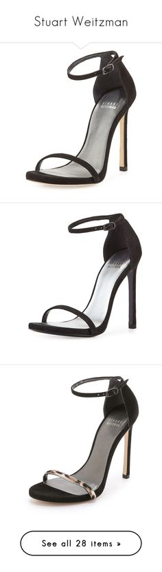 """Stuart Weitzman"" by katiasitems on Polyvore featuring shoes, sandals, heels, black, chaussures, ankle strap sandals, black high heel shoes, stuart weitzman sandals, suede sandals and high heeled footwear"