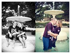 I think this is the first time I see a photo sesh at Fish Pond!  engagement photo session of Marcy Novak and Kyle Gilbert by Dallas Aggie wedding photographer Stacy Reeves