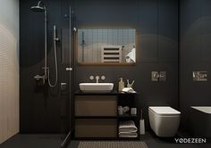 matte black bathroom interior design