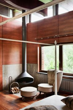 Fireplace, Cabin in Russia by architect Olga Freimann, Freimann Gallery.  (photo: Manolo Yllera)