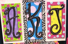 - I like how she did the sparkle on top of the initial - Christy's Funky Furniture - canvas initials