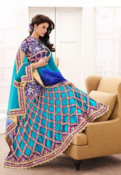 Aqua Blue Art Silk Jacquard and Satin Lehenga Choli with Dupatta