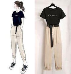 Áo thun cổ điển màu rắn + Bộ quần - Orchidmet Korean Girl Fashion, Ulzzang Fashion, Korean Street Fashion, Kpop Fashion Outfits, Girls Fashion Clothes, Mode Outfits, Look Fashion, Swag Fashion, 70s Fashion