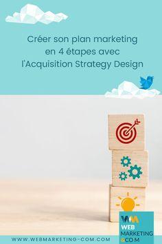 Créer son plan marketing en 4 étapes avec l'Acquisition Strategy Design Digital Marketing Strategy, Inbound Marketing, Marketing Automation, Plan Marketing, Proposition De Valeur, Coaching, Business Model, Acquisition, Web Design