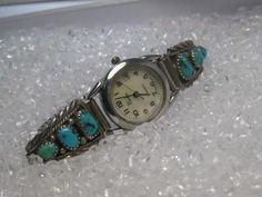 Ladies Sterling Silver Turquoise Watch Tips signed RB, Robert Becenti with Nadia  Quartz Watch