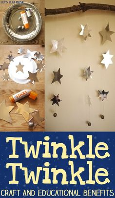 Let's Play Music : Twinkle Twinkle Little Star Decorative Mobile - Activity ideas, educational benefits and sensory craft idea. #DIY #kidscrafts #preschool (pinned by Super Simple Songs)