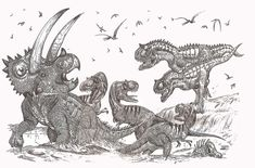 "Monsters from Mexico by ~HodariNundu on deviantART | ""Harassed by a pack of albertosaurs, a huge bull Coahuilaceratops magnacuerna struggles to free himself from a mud trap. Meanwhile, two Labocania are attracted by the smells and noises, hoping to get an easy meal."""