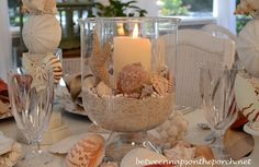 Shell and Candle Centerpiece in Double Bowl Hurricane