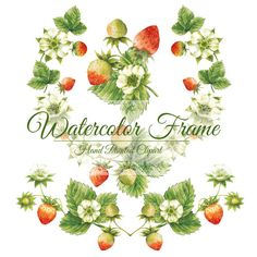 Strawberries frame watercolor frame watercolor by DottyCreative Strawberry Clipart, Strawberry Flower, Strawberry Garden, Strawberry Plants, Flower Drawing Tutorials, Wild Strawberries, Tattoos For Daughters, Frame Clipart, Fruit Art