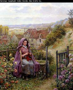 """In The Garden"" by Daniel Ridgway Knight"