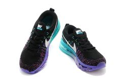 best service 0c25e 36119 Men Nike Air Max Flyknit 620659 001 Black Hyper Grape Aqua Blue
