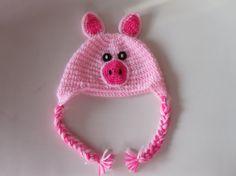Pig hat  crochet earflap baby hat by AnnaSHandMD on Etsy,