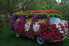 VW Van  Movable (no engine) topiaries that are completely covered in flowers  Dallas Arboretum