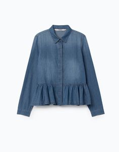 Lefties - camisa denim volante - 0-405 - 05484305-V2018 Denim Button Up, Button Up Shirts, Tunic Tops, Sweaters, Women, Fashion, Ruffles, Full Sleeves, Blouses