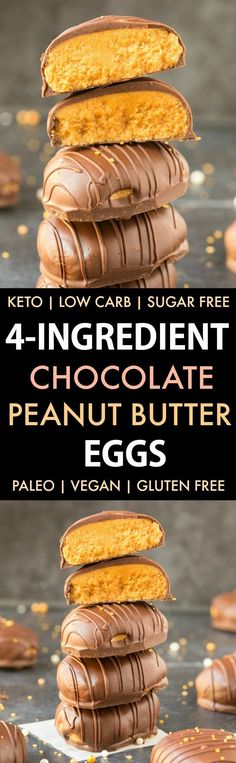 4-Ingredient No Bake Chocolate Peanut Butter Eggs Recipe (Paleo, Vegan, Keto, Sugar Free, Gluten Free)-An easy recipe for chocolate peanut butter eggs using just 4 ingredients! Easy, delicious low carb Easter chocolate which tastes like a Reese's Peanut Butter Cup but healthy!
