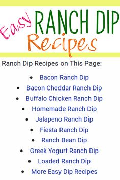 Easy Ranch Dip Recipes
