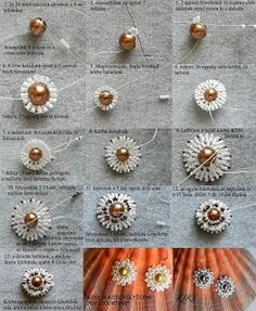 KIKI beads: Daya earring pattern.  Brick stitch around a central bead.  Only if you can follow the picture.  #Seed #Bead #Tutorials