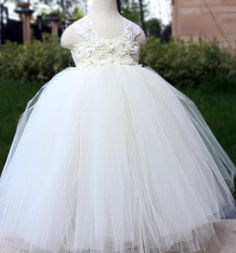 Flower Girl Dress Ivory tutu dress baby dress toddler birthday baptism dress wedding dress 1T 2T 3T 4T 5T 6T on Etsy, $69.00