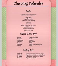 Cleaning - schedule