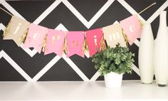 Je'taime Banner. $25.00, via Etsy....i like the colors of the charcoal & white chevron and pink banner