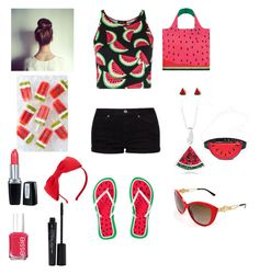 """Watermelon day"" by mona-aqel on Polyvore featuring LOQI, Topshop, ASOS, Kate Spade, Versace, Isadora, Essie and Smashbox"