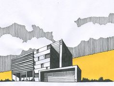 #SimpleYetElegant #Yellow #SkyLine Landscape Architecture Model, Architecture Drawing Plan, Architecture Drawing Sketchbooks, Conceptual Architecture, Architecture Graphics, Architecture Diagrams, Architecture Portfolio, Perspective Sketch, Illustrations