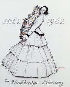 Norman Rockwell posed his third wife, Molly Rockwell, in costume in his Stockbridge (MA) studio for a series of study photographs. To assist Molly in the proper placement of her feet, Rockwell posed her with blocks under her shoes so that it would appear as though the librarian was walking forward as she carried her piles of books. In the photos we can see that Rockwell has even piled a tower of books that lean back against her chest to achieve the proper affect.