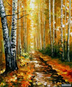 AUTUMN BIRCHES — Oil Painting On Canvas By Leonid Afremov. #art #afremov