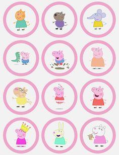Peppa pig princess cake - clip art blown up to use as templates Fiestas Peppa Pig, Cumple Peppa Pig, Peppa Pig Y George, George Pig, Peppa Pig Printables, Free Printables, Peppa Pig Stickers, Pig Cupcakes, Peppa Pig Cupcake