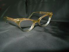 3c8aa275010 Vintage Cat Eye Glasses - 1950s Lucite Cateye Glasses Frames - Gold  Glitter. Petits VisagesLunettes Œil De ChatMontures ...