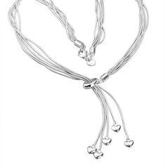 #Schicke #Halskette mit #Herzanhängern. Die Kette ist im #ropechain #look Toller #Blickfang für jedes #Dekolleté  Mit unserem #Gutschein jetzt noch 30% sparen 6G08XBFN