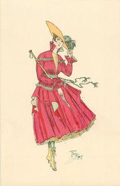 sombrero sostenida con la mano izquierda, vestido de color rosa oscuro