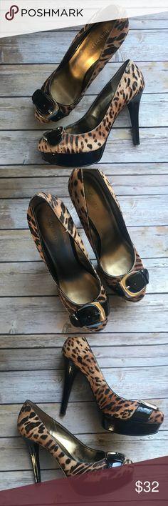 Nine West animal print fur platform peep toe pumps Nine West Gretchyno.  Some wear, but in good condition. Nine West Shoes Heels