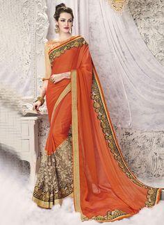 Buy Haute Patch Border Work Designer Half N Half Saree #sarees #saree #sari #designersaree #sareebuzzlove #sareebuzz #weddingsarees #weddingfashion
