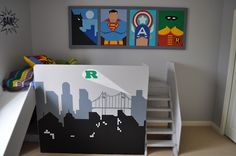 The whole superhero-themed room is great, but I LOVE these wall murals!