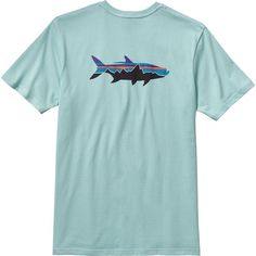 Patagonia Fitz Roy Tarpon T-Shirt - Short-Sleeve ($35) ❤ liked on Polyvore featuring men's fashion, men's clothing, men's shirts, men's t-shirts, tops, patagonia mens shirts, mens short sleeve t shirts, mens long t shirts, mens short sleeve shirts and mens t shirts