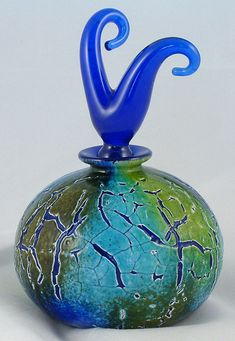 Art Glass Horn Perfume Bottle With Stopper