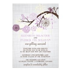 Lilac and Cream Flowers Rustic Wedding Invitation Click on photo to purchase. Check out all current coupon offers and save! http://www.zazzle.com/coupons?rf=238785193994622463&tc=pin