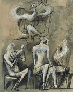 Seated Figures, Henry Moore Action Painting, Painting & Drawing, Henry Moore Drawings, Henry Moore Sculptures, Art Alevel, Alberto Giacometti, Abstract Sculpture, Art Sketchbook, Portrait Art