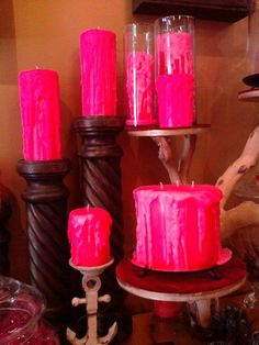 Hot pink candles Pink Love, Pretty In Pink, Hot Pink, Romantic Candles, Pink Candles, Cage, My Favorite Color, My Favorite Things, Barbie Birthday