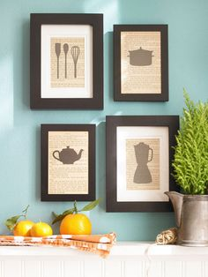 Kitchen silhouettes. Perfect kitchen decor.  DIY: To put a culinary-inspired twist on the classic silhouette, use cutouts of cooking utensils and appliances as the subject matter. These cutouts are backed with photocopied pages from an old cookbook, allowing them to blend easily with the kitchen's country style. The pieces stand out against the wall with crisp black frames in varying widths and are arranged in a neat, balanced composition.