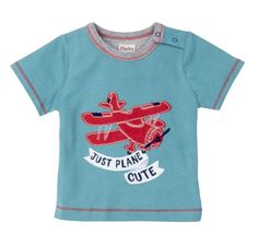 T-Shirt JUST PLANE CUTE mit rotem Flieger