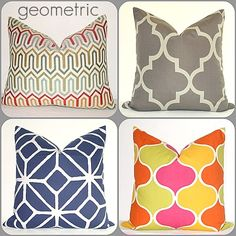 Love interesting shapes and color combos in throw pillows