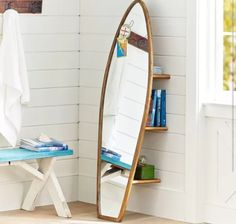 very cool mirror and bookshelf idea
